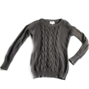 Ruby Moon Chunky Cable Knit Sweater Gray Size L